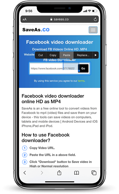 download Facebook video iphone step 04